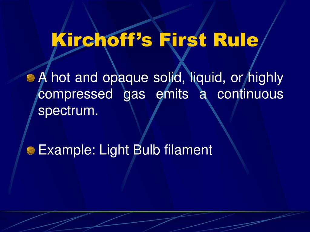 Kirchoff's First Rule