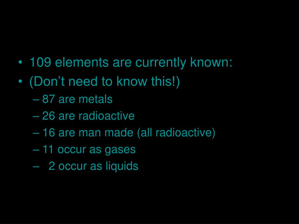 109 elements are currently known: