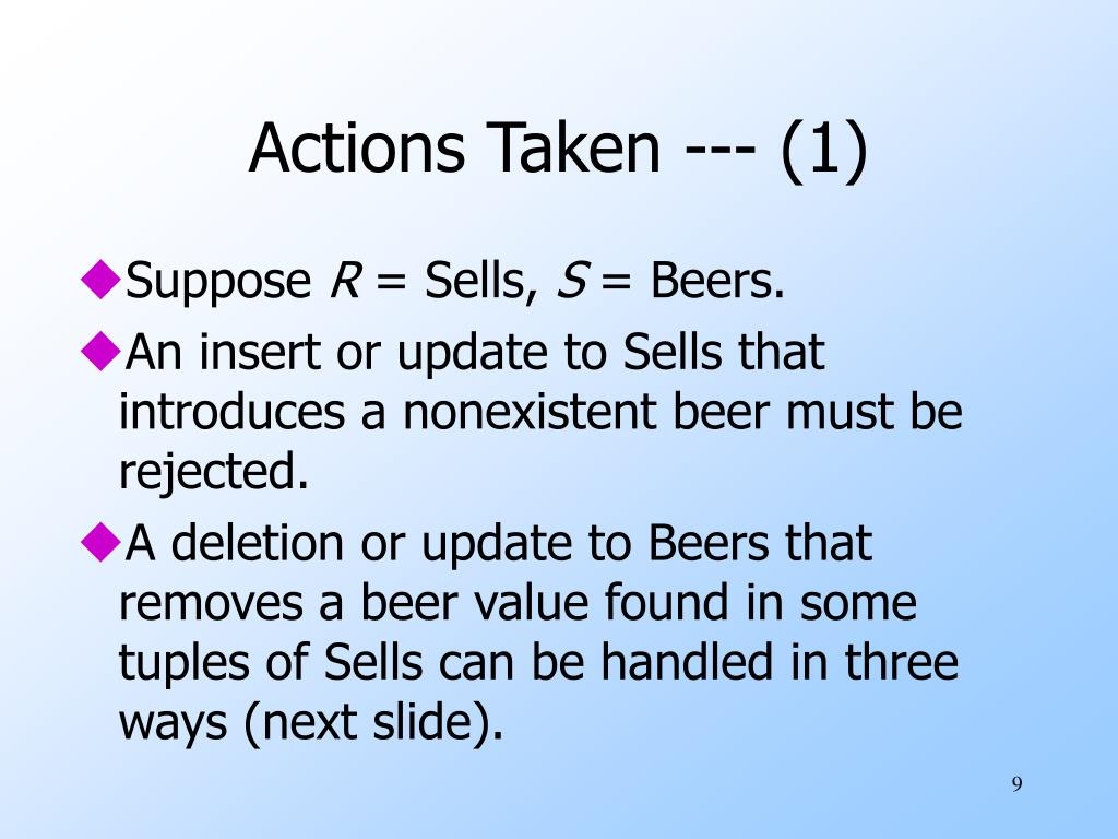 Actions Taken --- (1)
