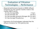evaluation of filtration technologies performance
