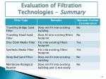 evaluation of filtration technologies summary