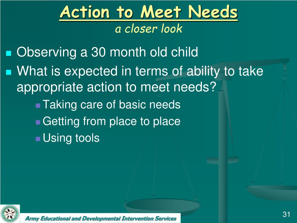 Action to Meet Needs