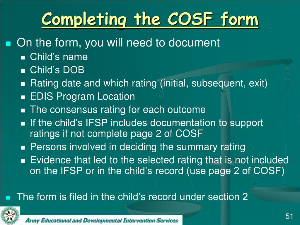 Completing the COSF form