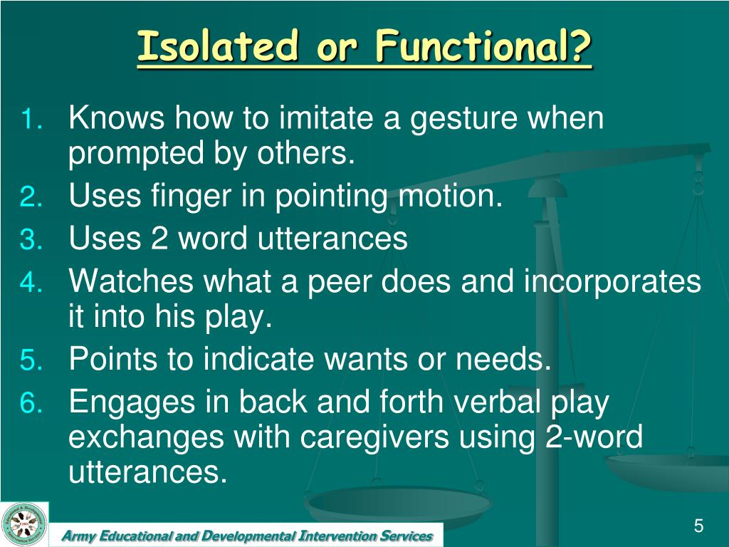 Isolated or Functional?