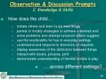 observation discussion prompts 2 knowledge skills