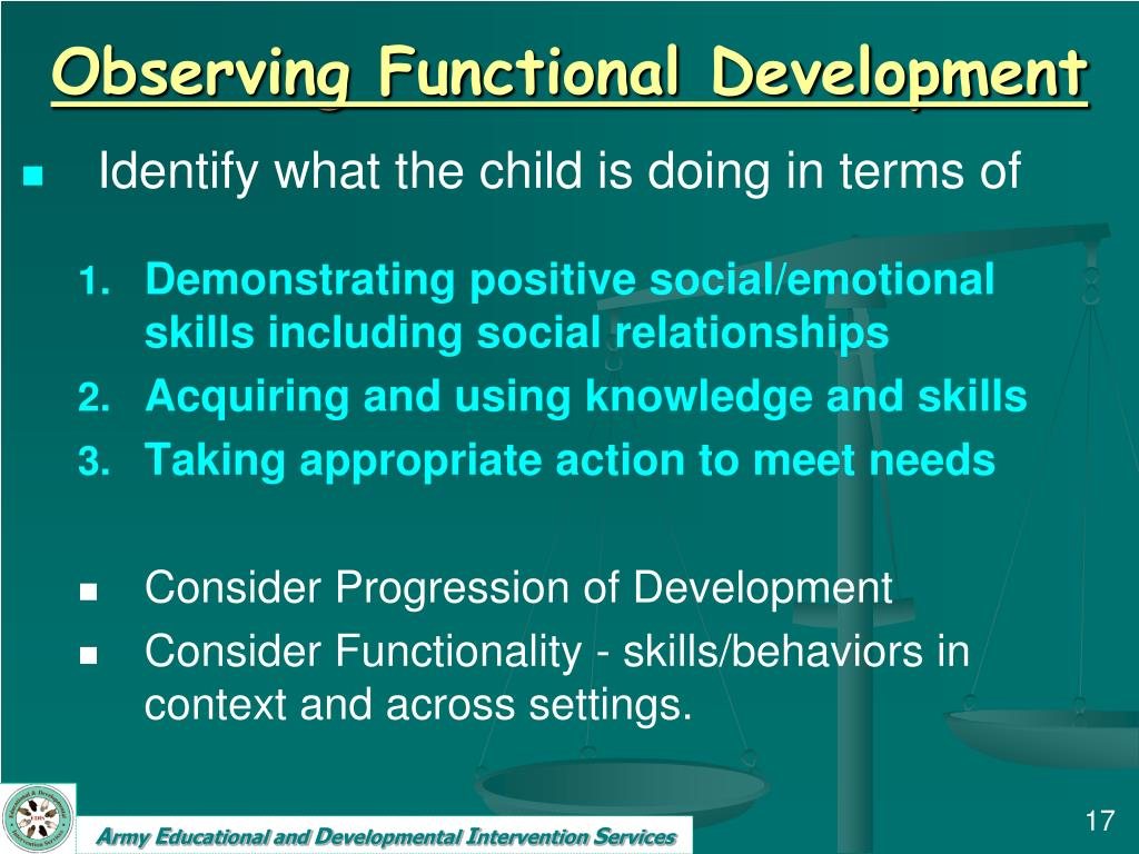 Observing Functional Development