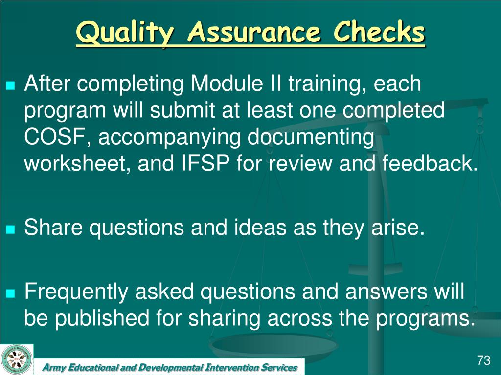 Quality Assurance Checks