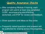 quality assurance checks