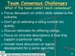 team consensus challenges what if the team cannot reach consensus