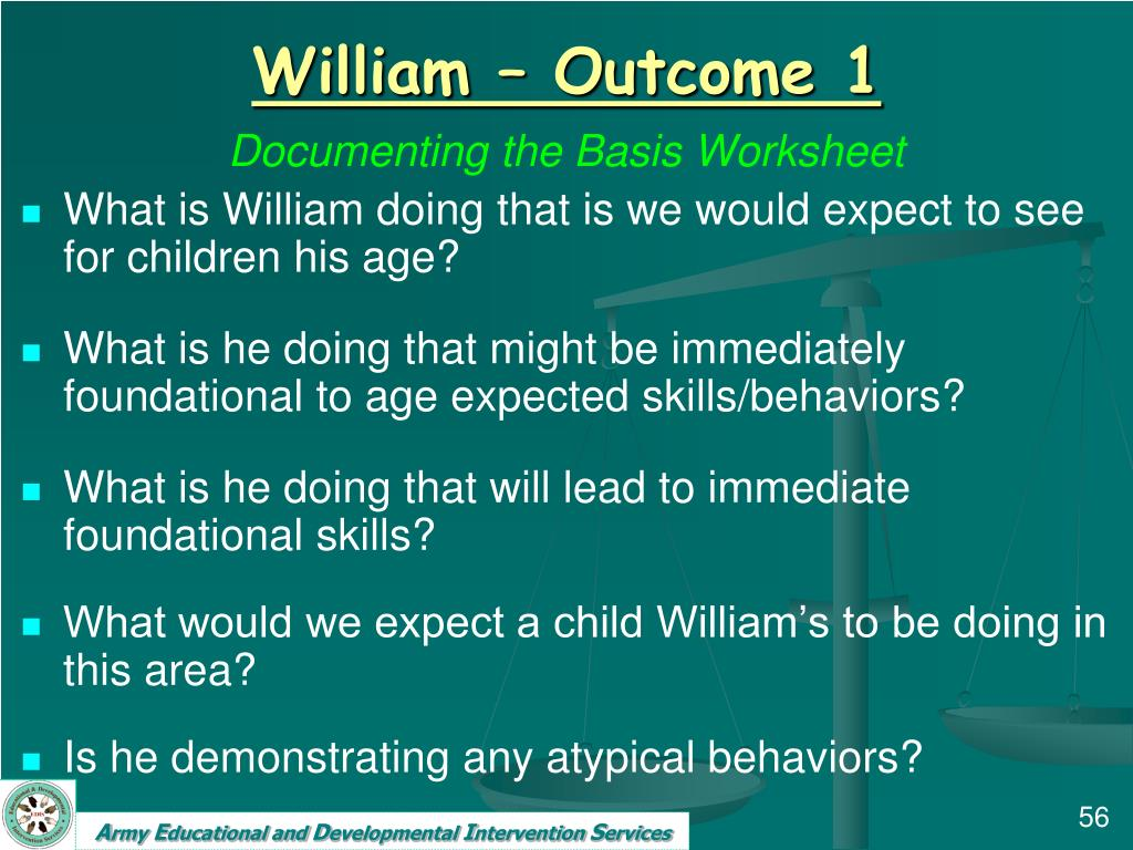 William – Outcome 1