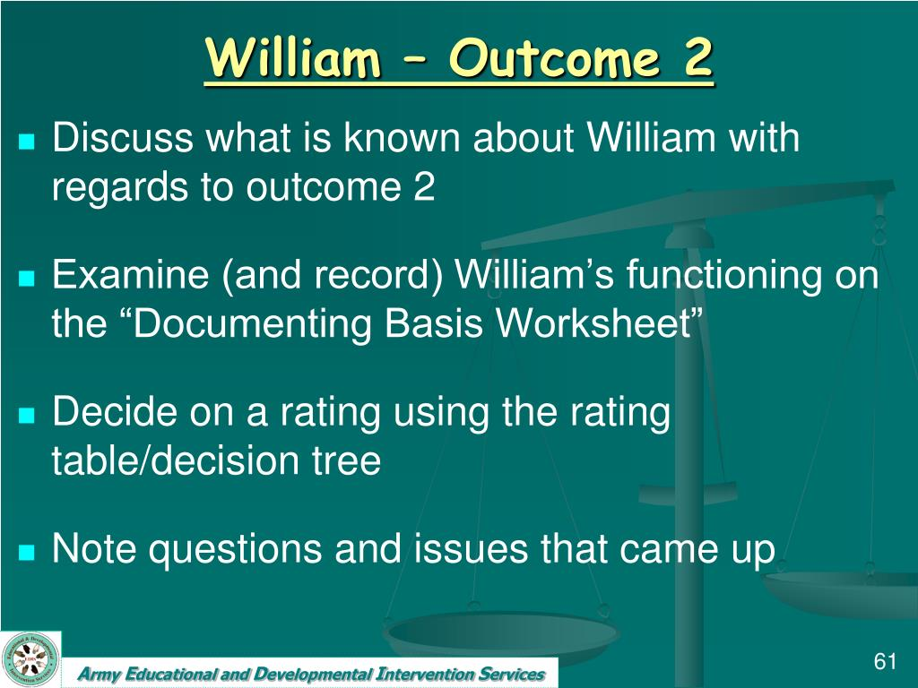 William – Outcome 2