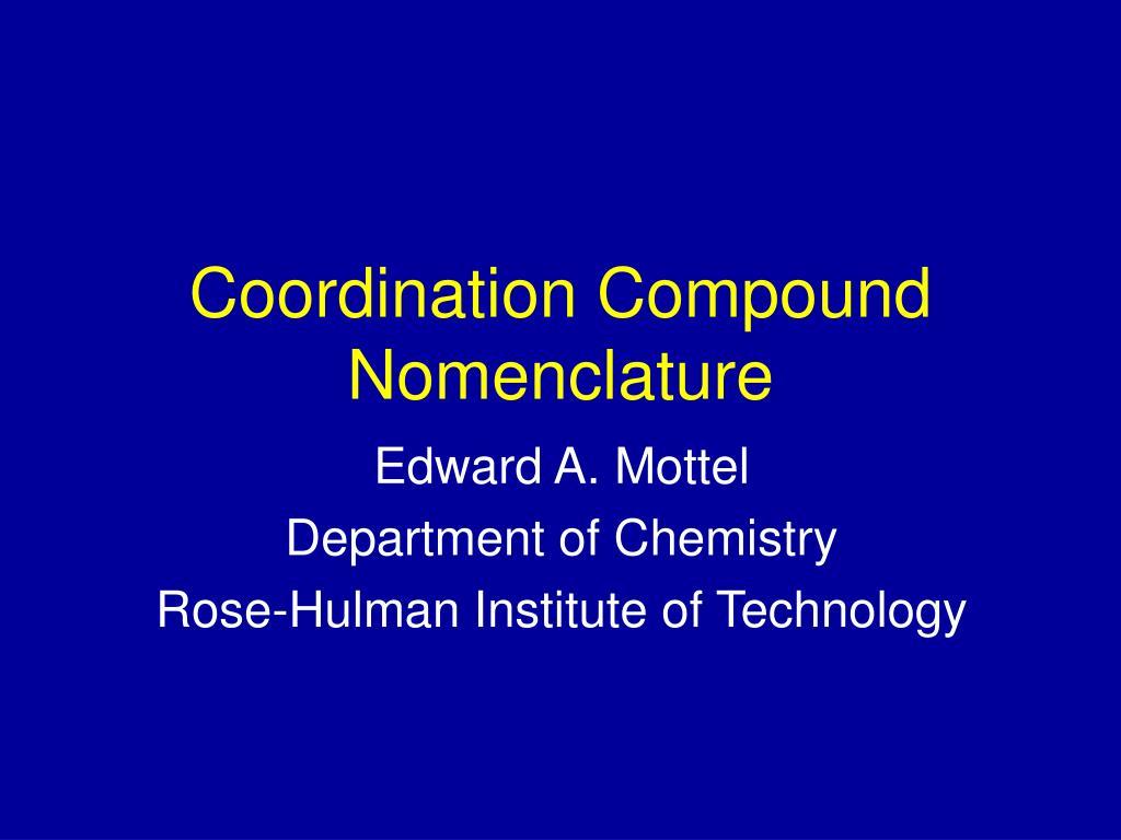 Coordination Compound Nomenclature
