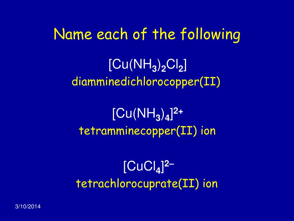 Name each of the following