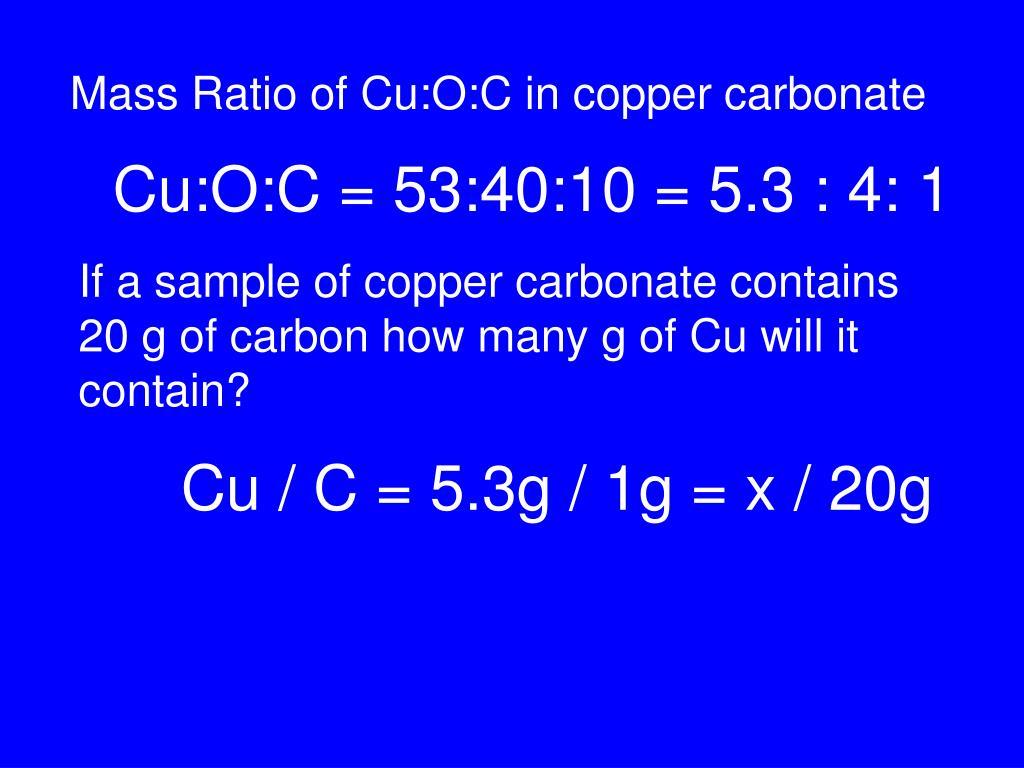 Mass Ratio of Cu:O:C in copper carbonate