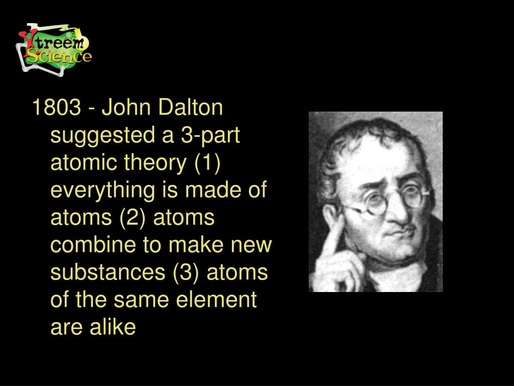 1803 - John Dalton suggested a 3-part atomic theory (1) everything is made of atoms (2) atoms combine to make new substances (3) atoms of the same element are alike