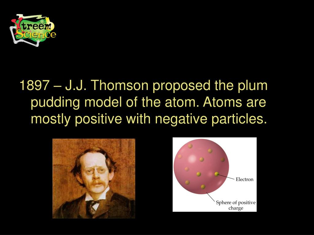 1897 – J.J. Thomson proposed the plum pudding model of the atom. Atoms are mostly positive with negative particles.