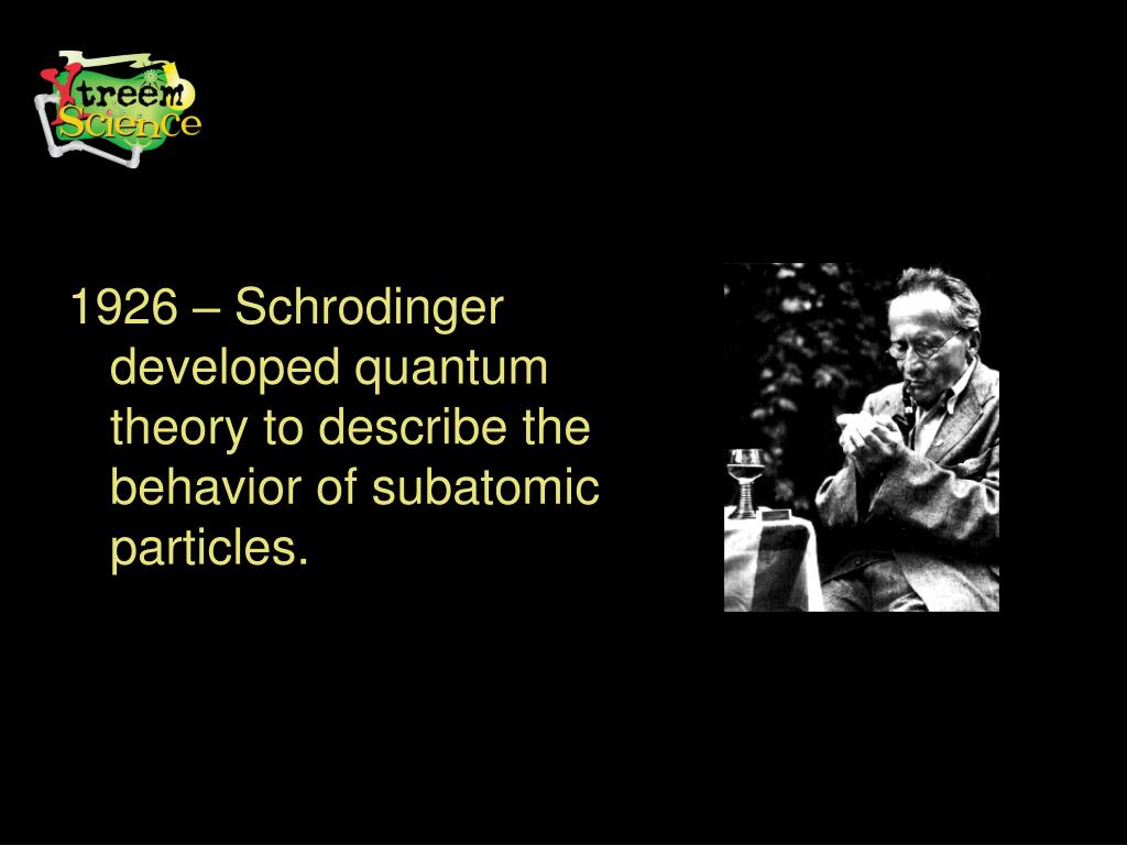 1926 – Schrodinger developed quantum theory to describe the behavior of subatomic particles.