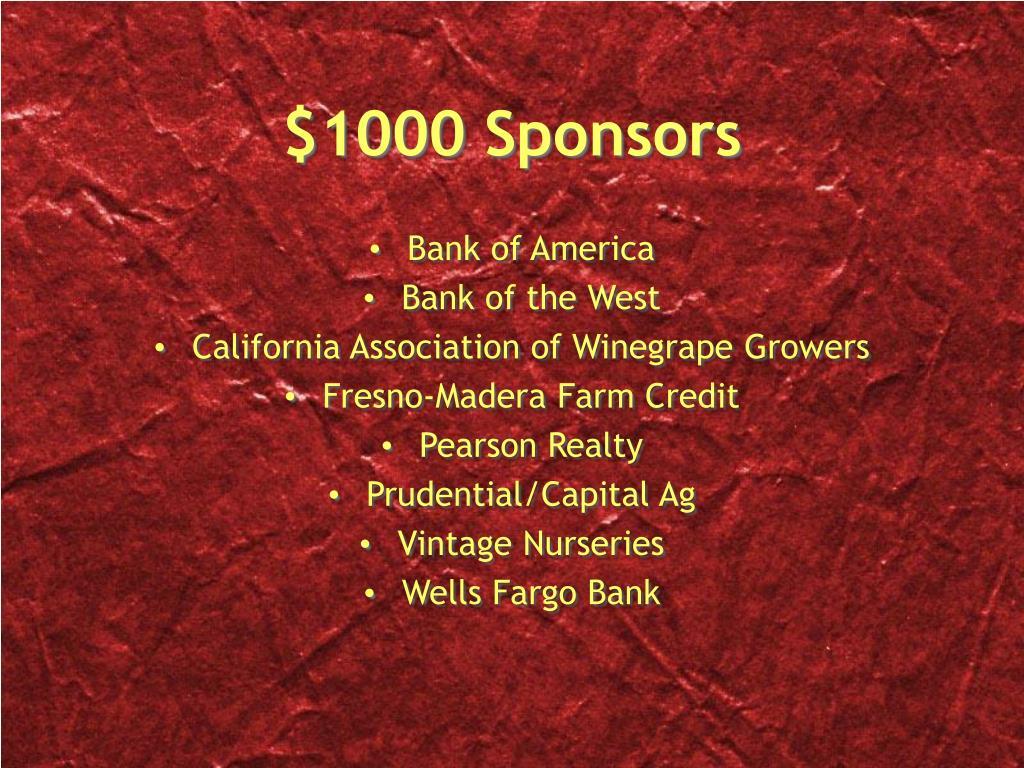 $1000 Sponsors