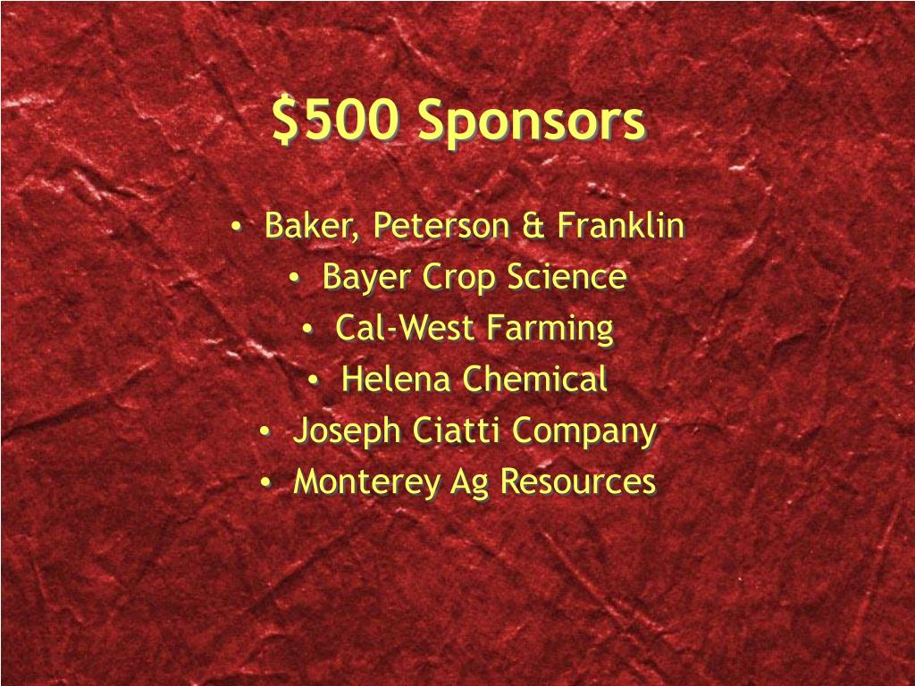 $500 Sponsors
