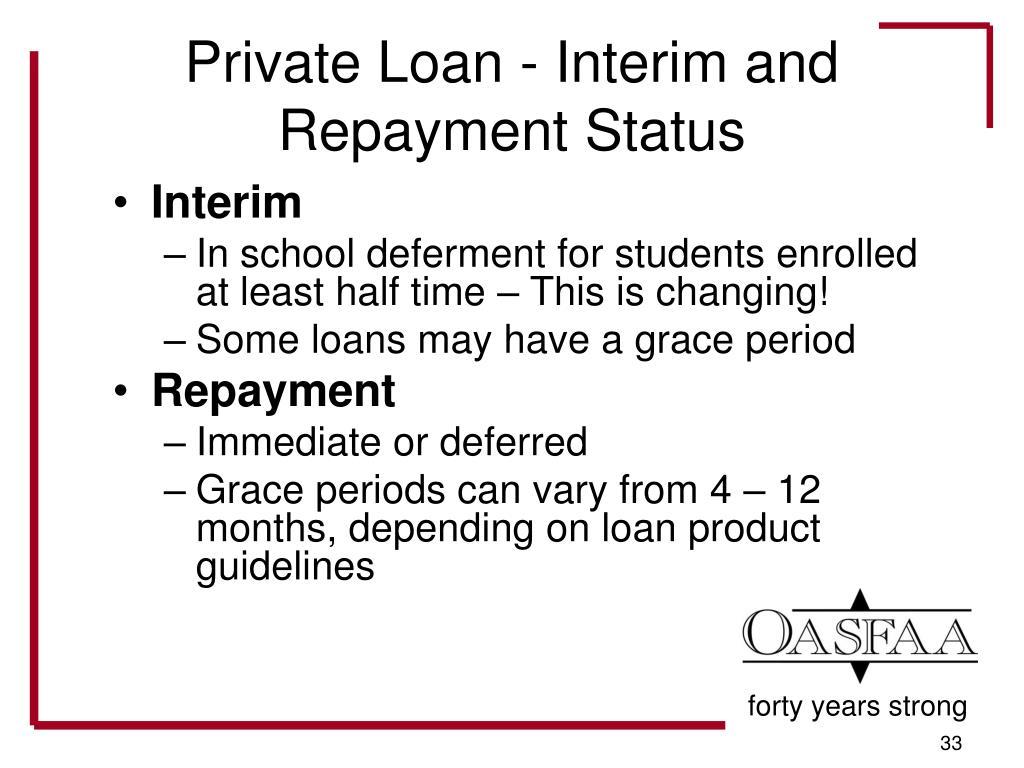 Private Loan - Interim and Repayment Status