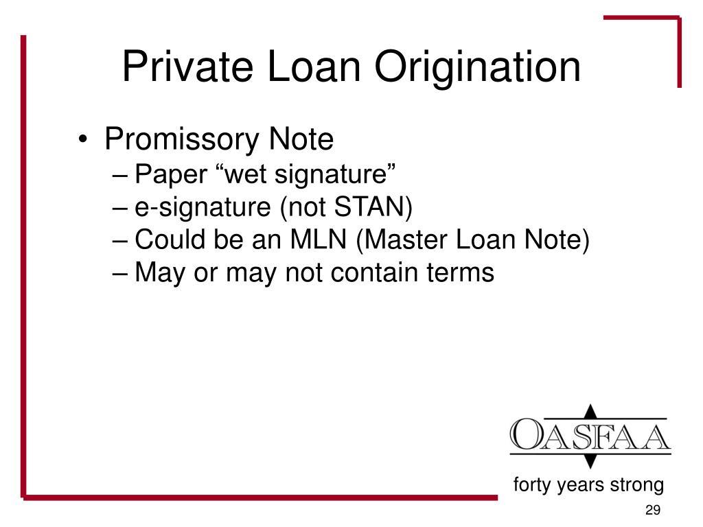 Private Loan Origination