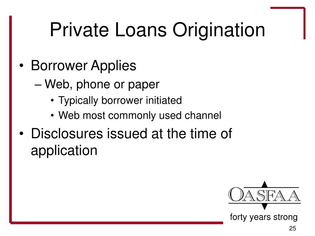 Private Loans Origination