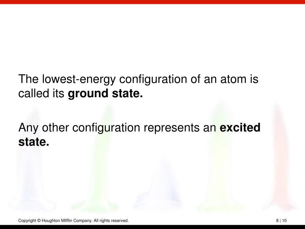 The lowest-energy configuration of an atom is called its