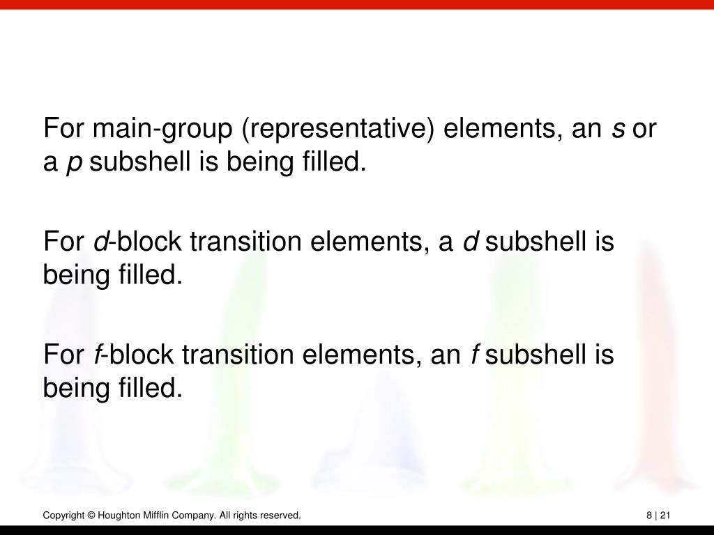 For main-group (representative) elements, an