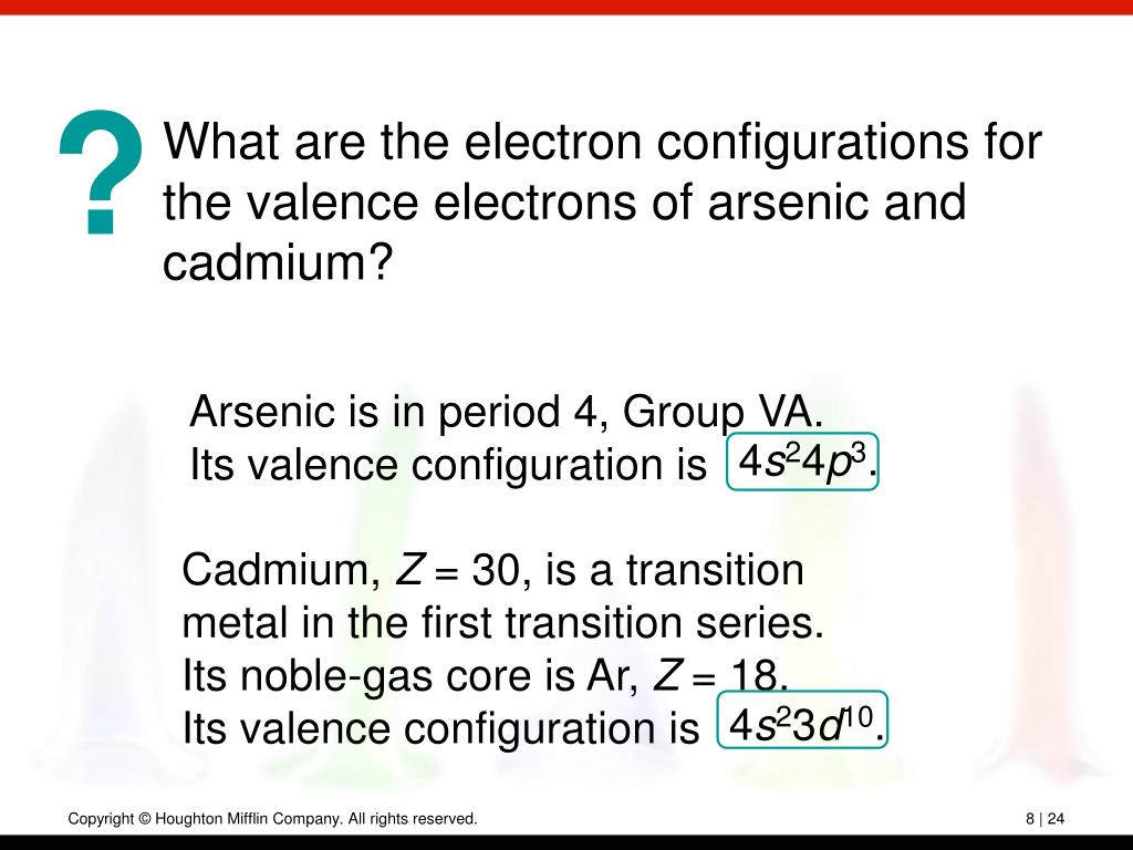 What are the electron configurations for the valence electrons of arsenic and cadmium?