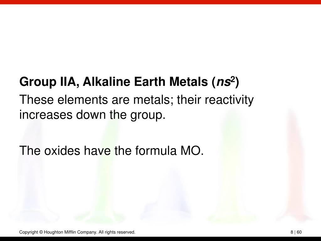 Group IIA, Alkaline Earth Metals (