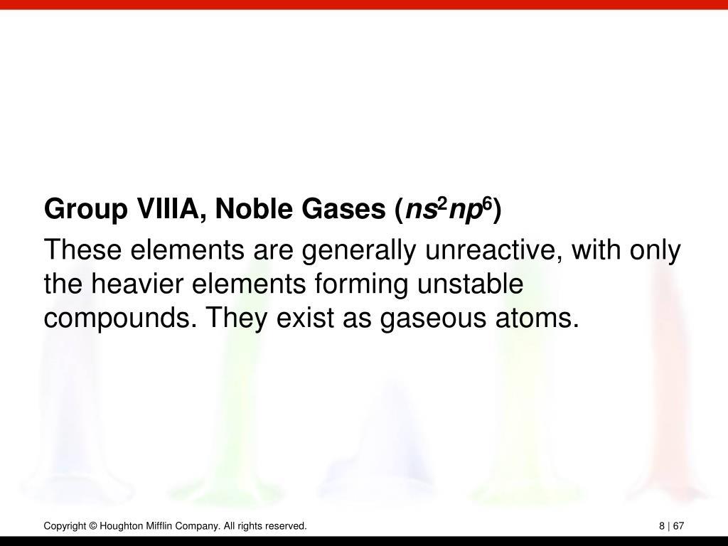 Group VIIIA, Noble Gases (