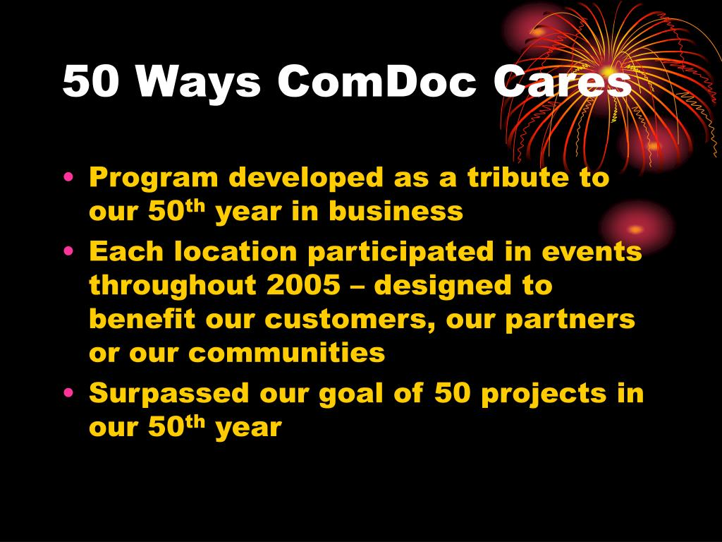 50 Ways ComDoc Cares