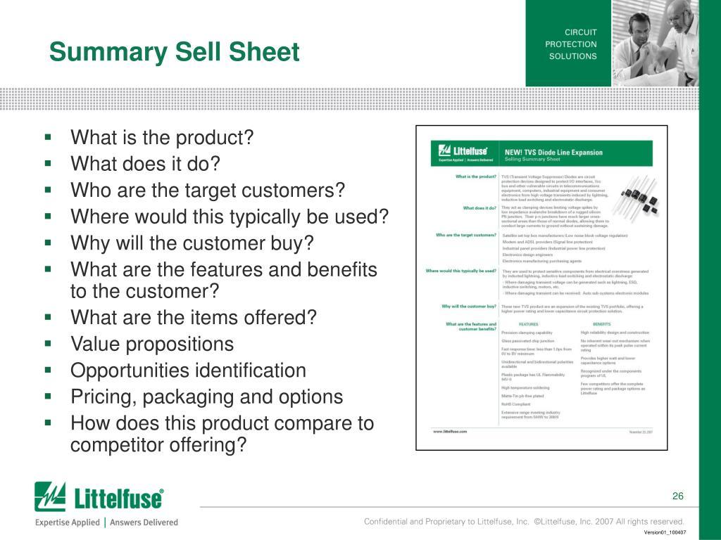 Summary Sell Sheet