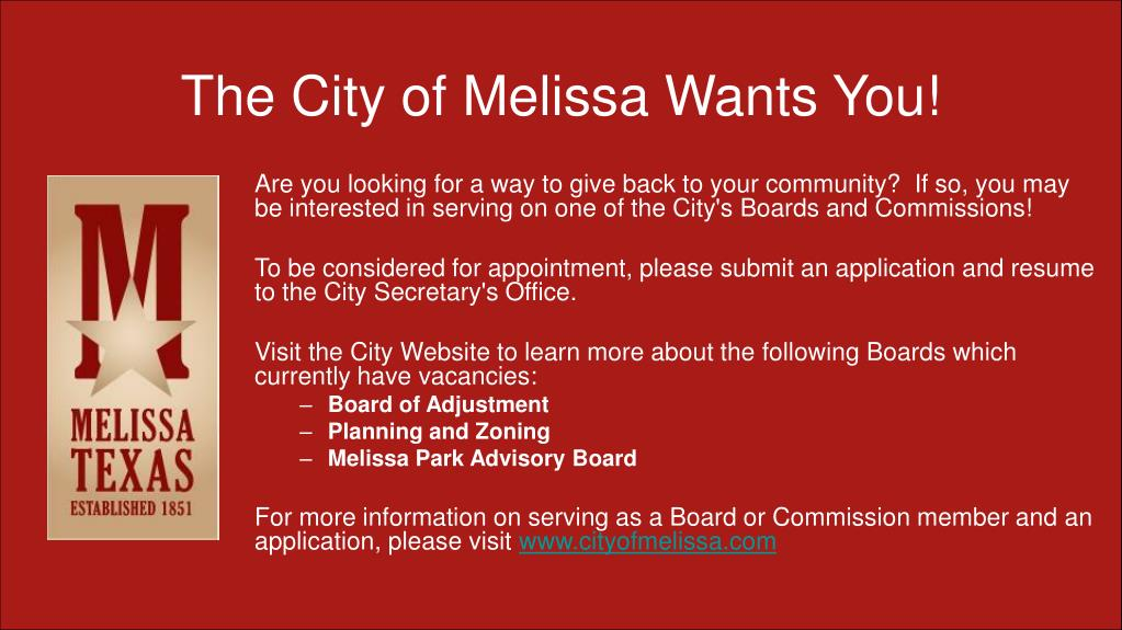 The City of Melissa Wants You!