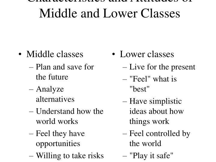 Characteristics and attitudes of middle and lower classes