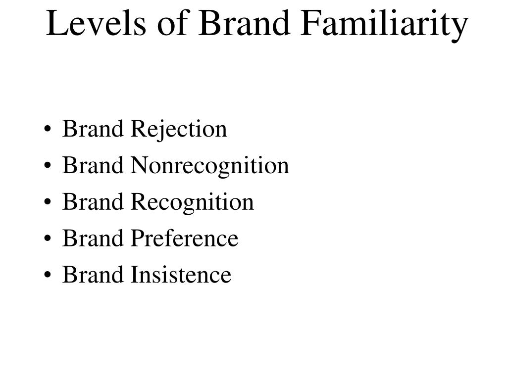 Levels of Brand Familiarity