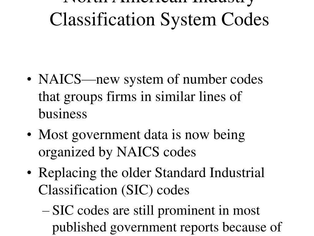North American Industry Classification System Codes