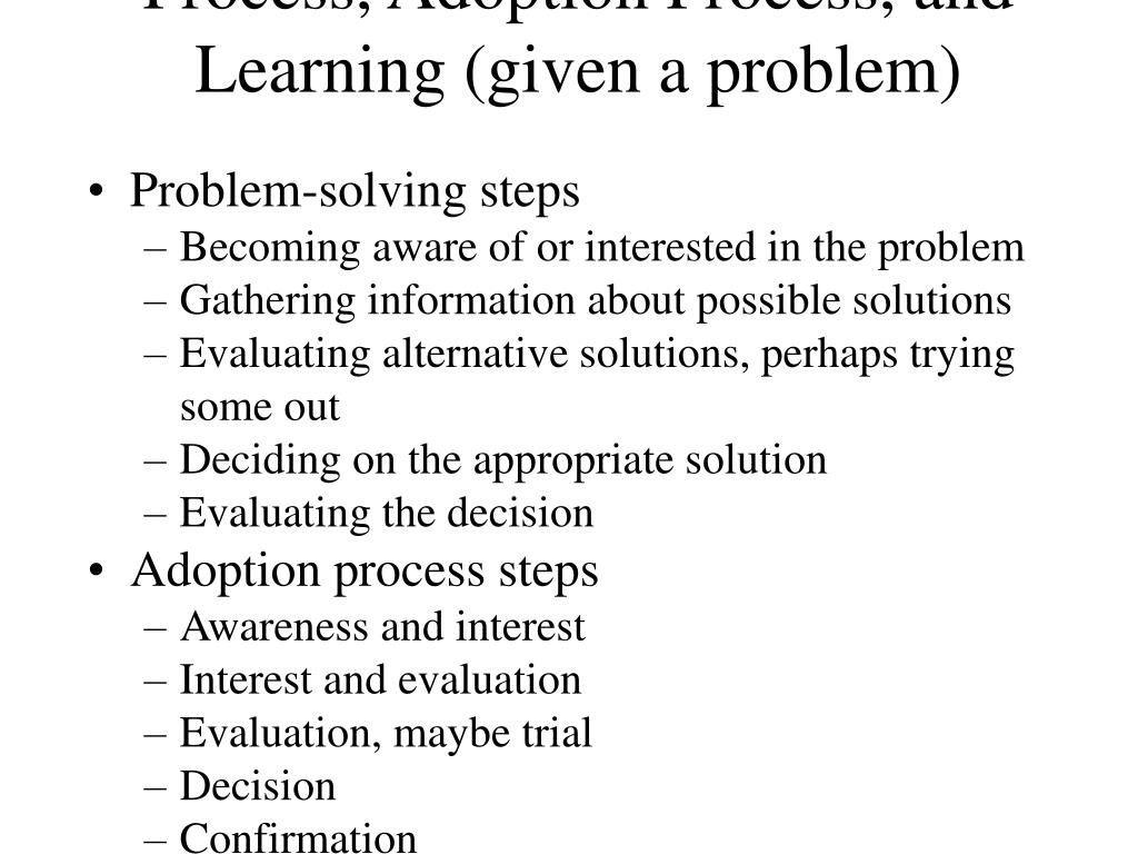 Relation of Problem-Solving Process, Adoption Process, and Learning (given a problem)