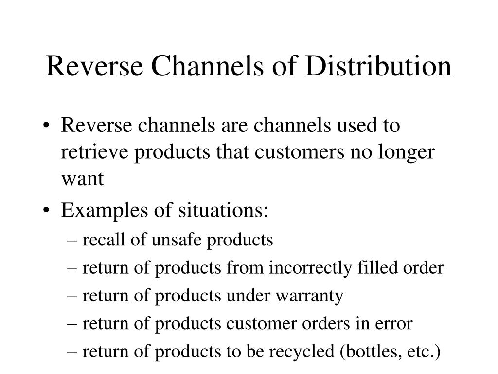 Reverse Channels of Distribution