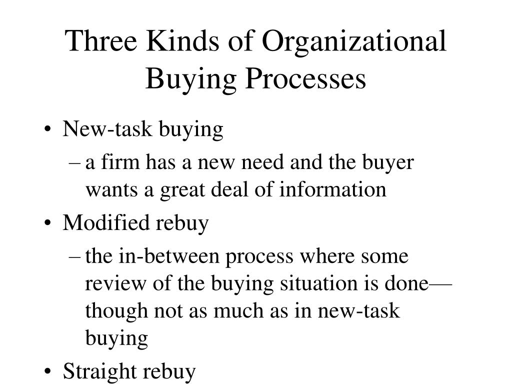 Three Kinds of Organizational Buying Processes