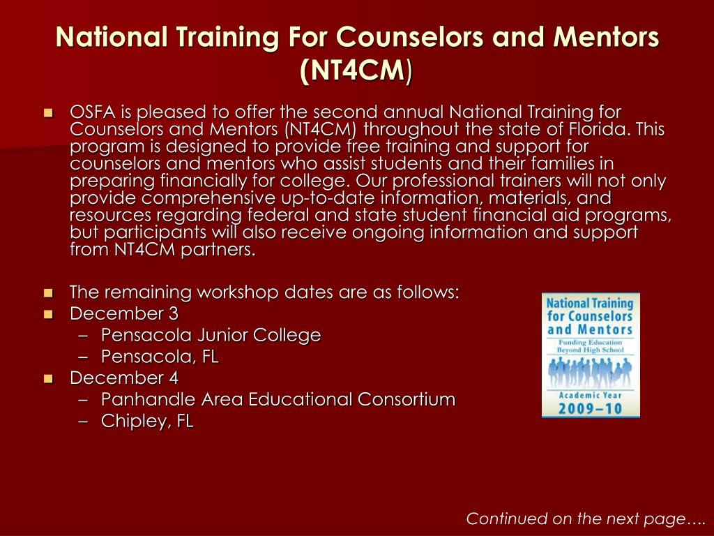 National Training For Counselors and Mentors (NT4CM