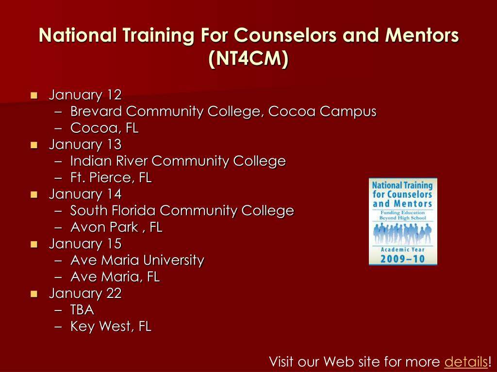 National Training For Counselors and Mentors (NT4CM)