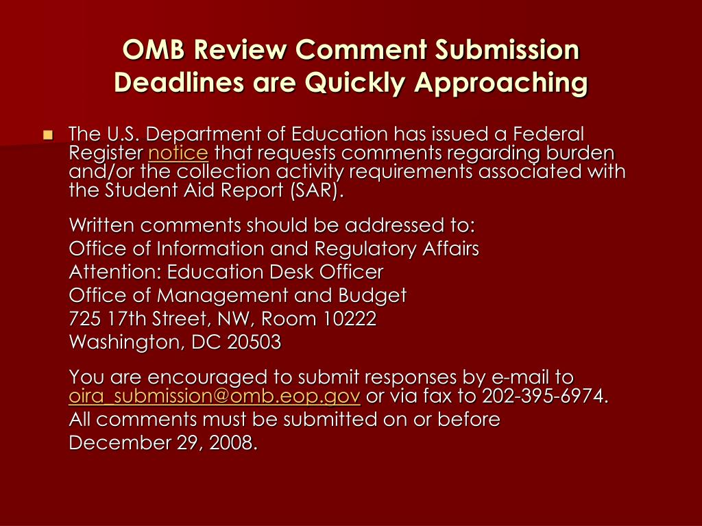 OMB Review Comment Submission