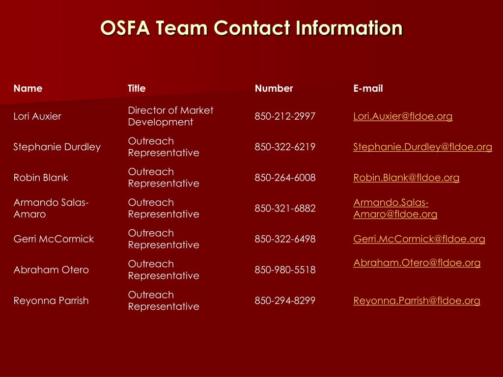 OSFA Team Contact Information