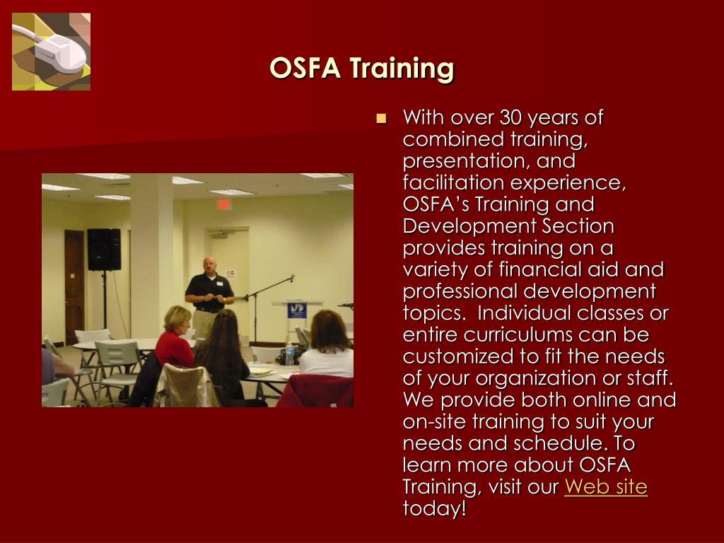 OSFA Training