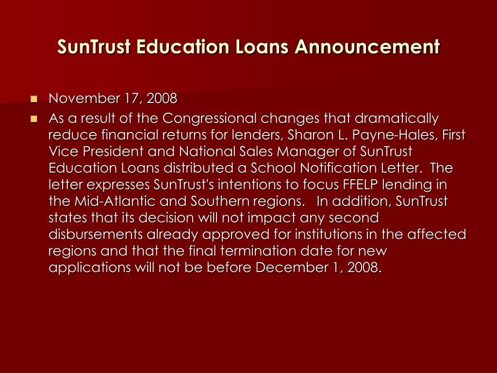SunTrust Education Loans Announcement