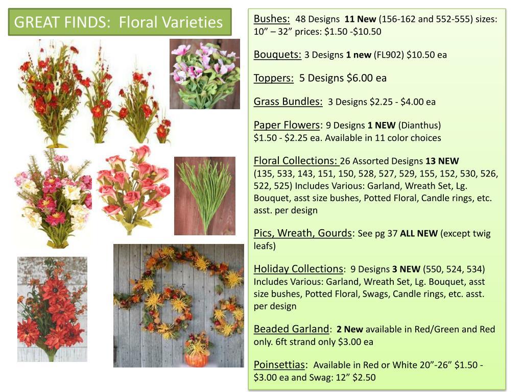GREAT FINDS:  Floral Varieties