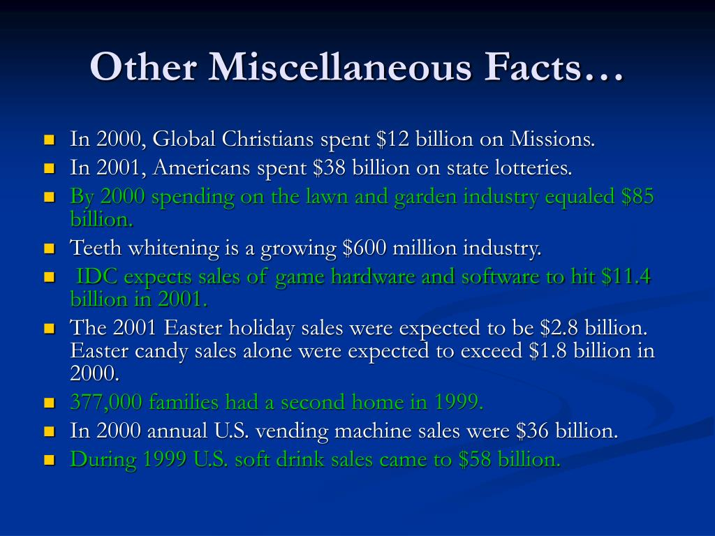 Other Miscellaneous Facts…