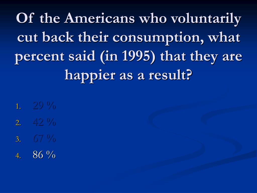 Of the Americans who voluntarily cut back their consumption, what percent said (in 1995) that they are happier as a result?
