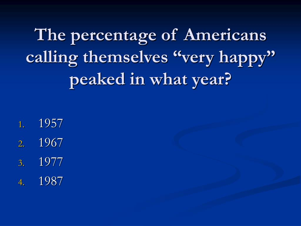 "The percentage of Americans calling themselves ""very happy"" peaked in what year?"